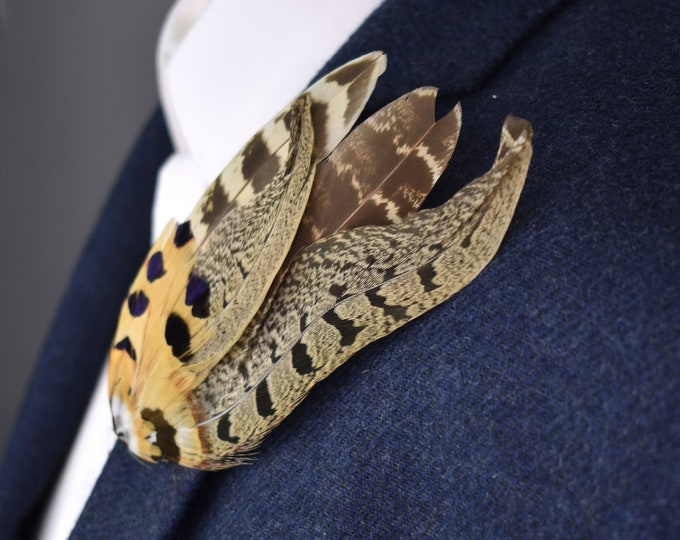 Natural Pheasant Feather Lapel Pin in Golden Brown No.5