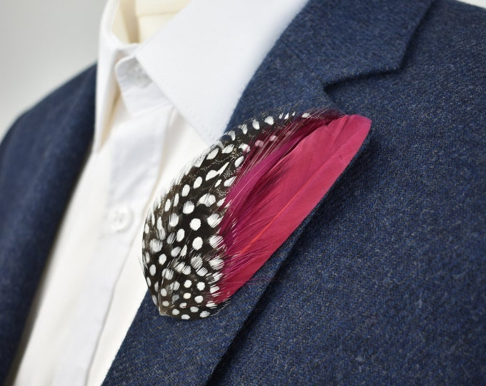 Burgundy and Spotted Feather Lapel Pin