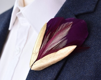 Plum Purple and Gold Feather Lapel Pin