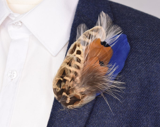 Pheasant Feather Lapel Pin with Navy Blue and Peach