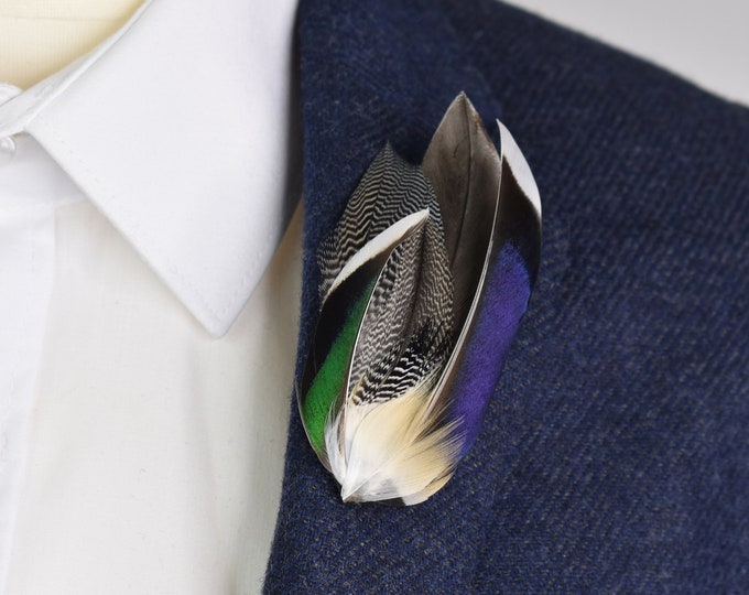 Mallard Feather Lapel Pin in Navy Blue and Bottle Green