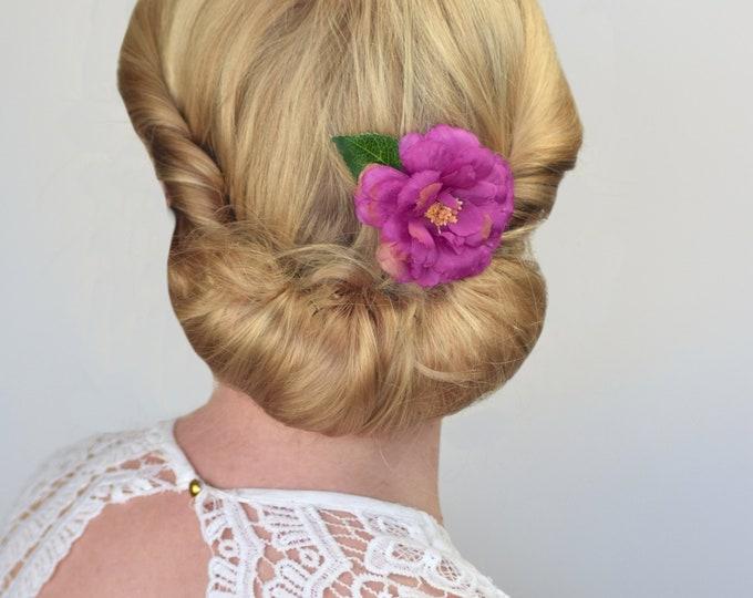 Magenta Pink Camelia Flower Hair Clip