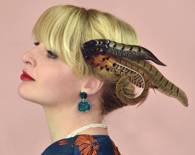 Curled Mixed Pheasant Feather Hair Clip Fascinator