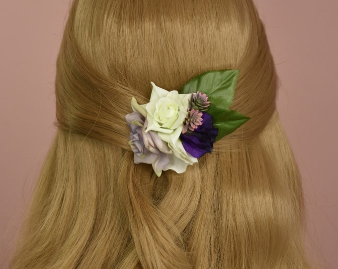 Rose and Sweet Pea Hair Clip in Purple and White