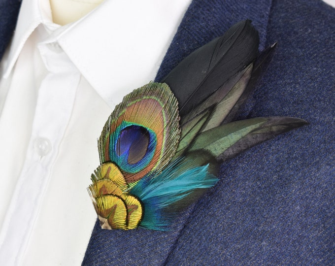 Peacock Feather Lapel Pin in Blue, Teal and Green