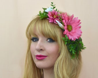 Pink and Greenery Flower Crown Wreath