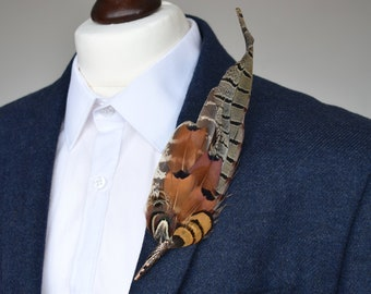 Natural Pheasant Feather Lapel Pin