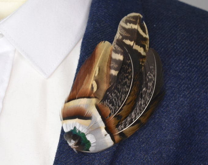 Natural Pheasant Feather Lapel Pin in Golden Brown No.4