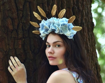 Pastel Blue Hydrangea Flower Crown with Gold Feather Detail