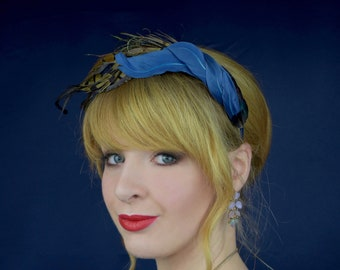 Navy Blue and Copper Twisted Pheasant Feather Headband | Pheasant Feather Headpiece | Feather Fascinator | Wedding Fascinator