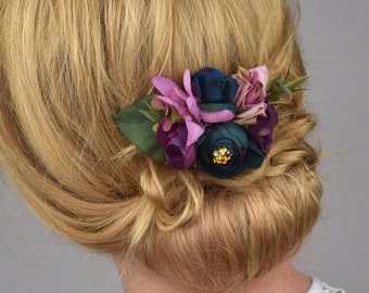 Silk Flower Hair Clip in Purple and Navy Roses and Ranunculus