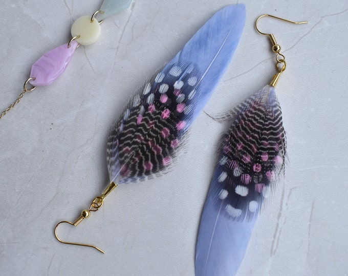 Pastel Blue Feather Earrings with Spots and Stripes