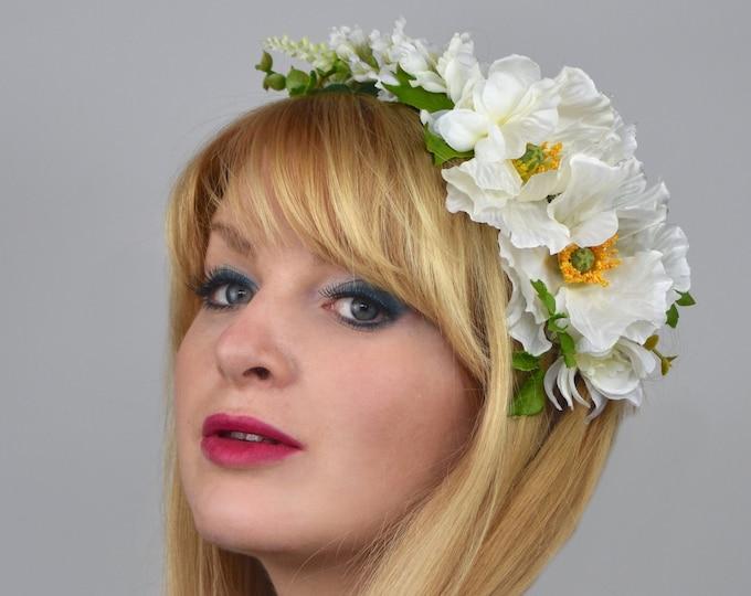 White Poppy Bridal Flower Wreath