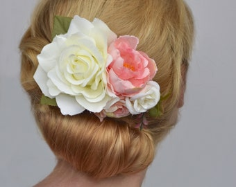 Ivory and Pink Vintage Style Rose Flower Hair Clip