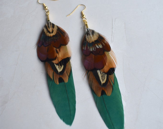 Green and Copper Pheasant Feather Earrings