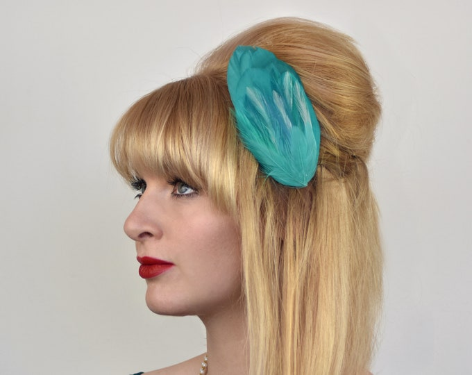 Turquoise Feather Hair Clip Fascinator