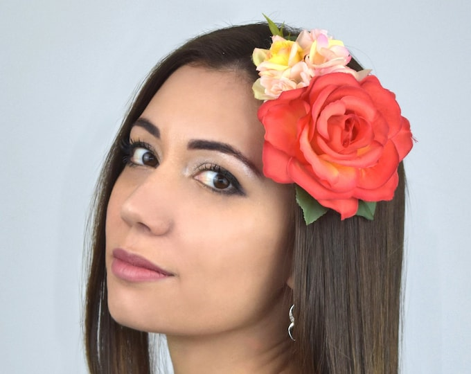 Bright Orange, Pink and Yellow Vintage Style Rose Flower Hair Clip