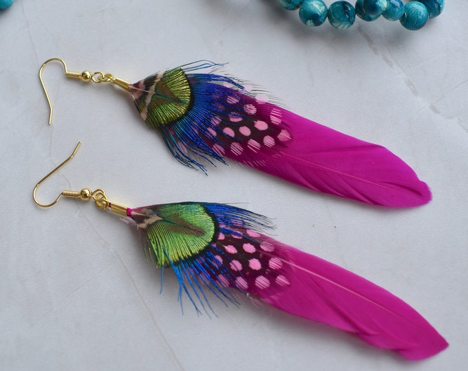 Hot Pink and Peacock Feather Earrings