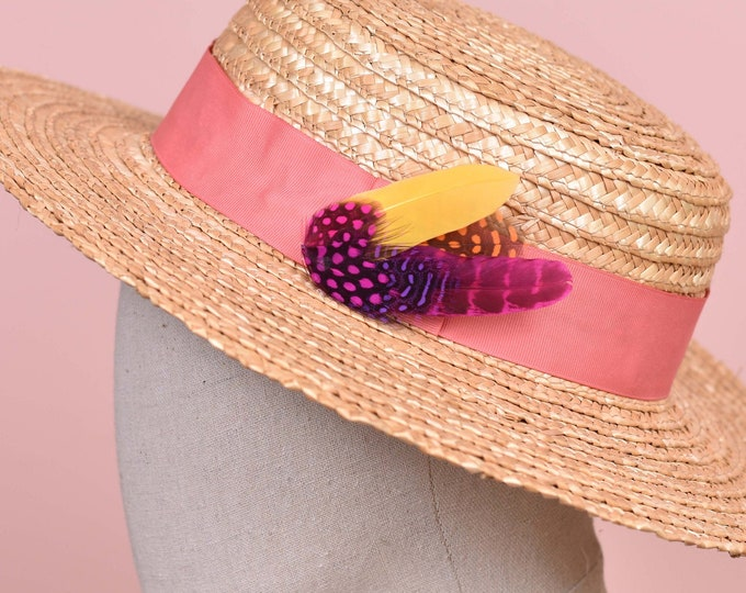 Pink, Yellow and Orange Feather Hat Pin Small No.84