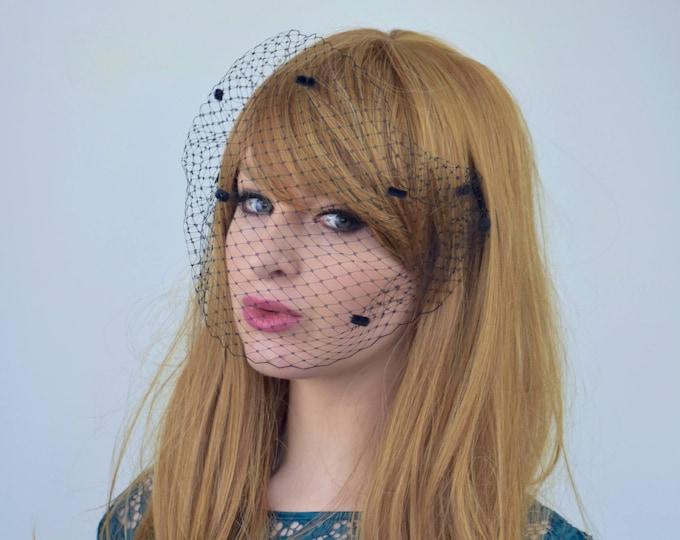 Black Birdcage Net Veil