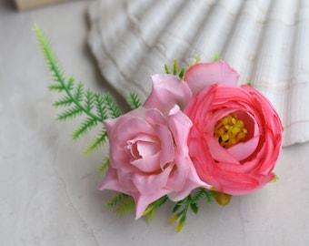 Tropical Pink Silk Flower Hair Clip