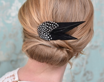 Black Monochrome  Feather Hair Clip with Polka Dots