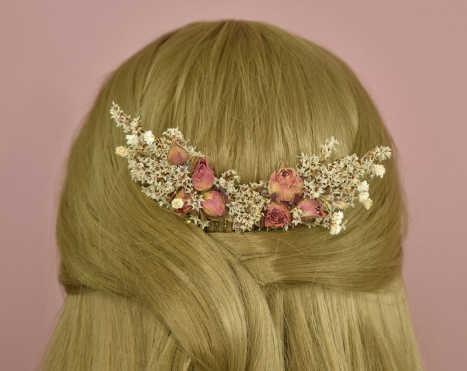 Dried Flower Hair Comb with Baby Breath and Peach Rose Buds