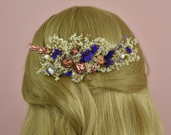 Dried Flower Hair Comb in Ivory, Purple and Copper
