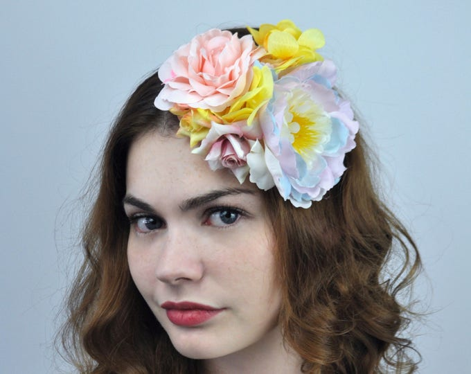 Pastel Peony and Roses Flower Hair Clip Fascinator