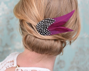 Feather Hair Clip in Plum Purple and Spotted Guinea Fowl