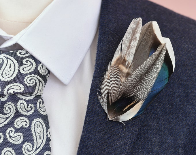 Duck Feather Lapel Pin in Grey and Navy Blue