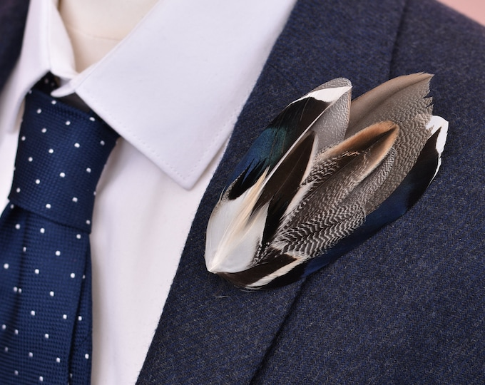 Navy Blue and Grey Mallard Duck Feather Lapel Pin Brooch No.13