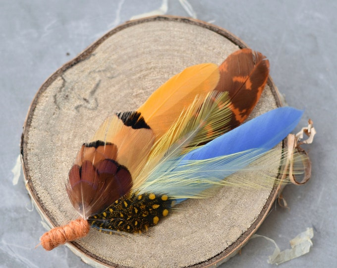 Sky Blue, Mustard Yellow, Orange and Pheasant Feather Lapel Pin