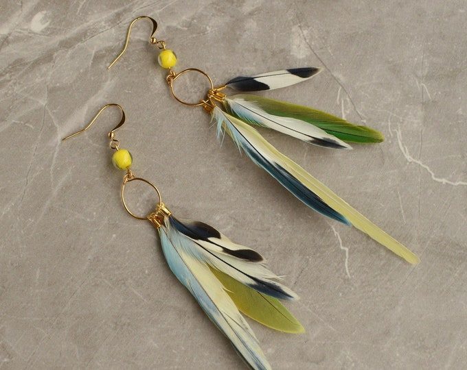 Yellow, Green and Blue Tropical Feather Earrings