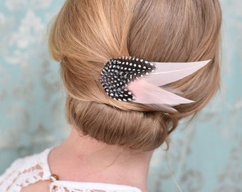 Feather Hair Clip in Blush Pink and Spotted Guinea Fowl