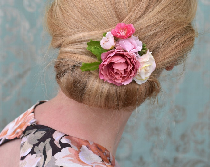 Silk Flower Hair Clip in Pinks and Ivory