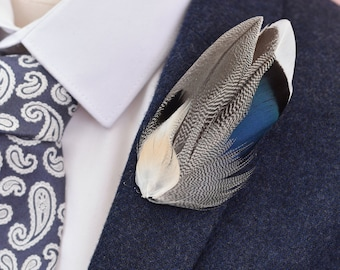 Mallard Feather Lapel Pin in Navy Blue, Ivory and Grey