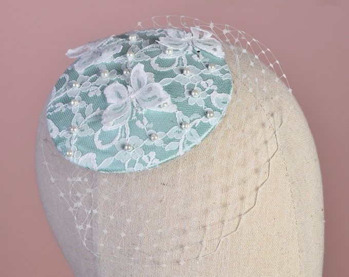 Mint Green and White Butterfly Lace Fascinator