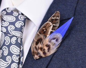 Royal Blue and Blonde Pheasant Feather Lapel Pin Small No.78