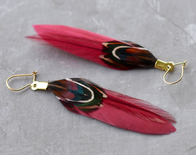 Burgundy Feather Earrings Small