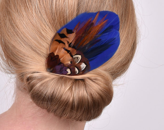 Navy Blue and Pheasant Feather Hair Clip