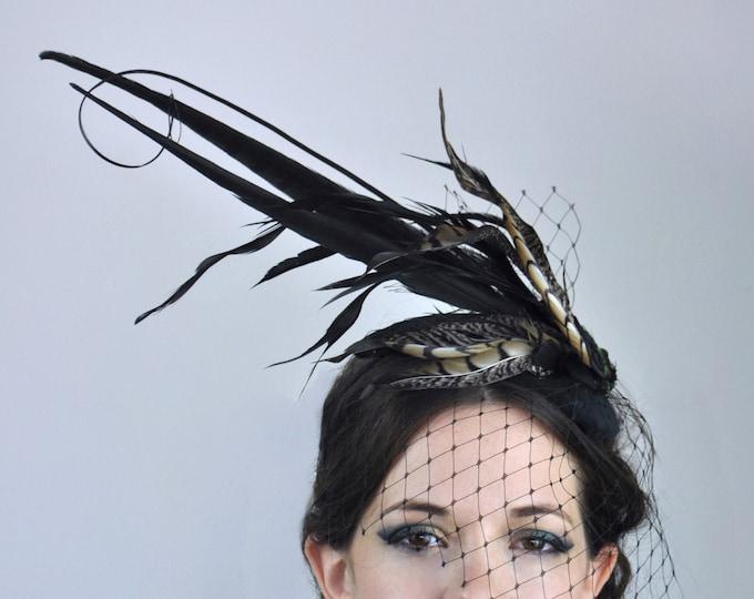 Black Feather Teardrop Hat with Black Net Veil
