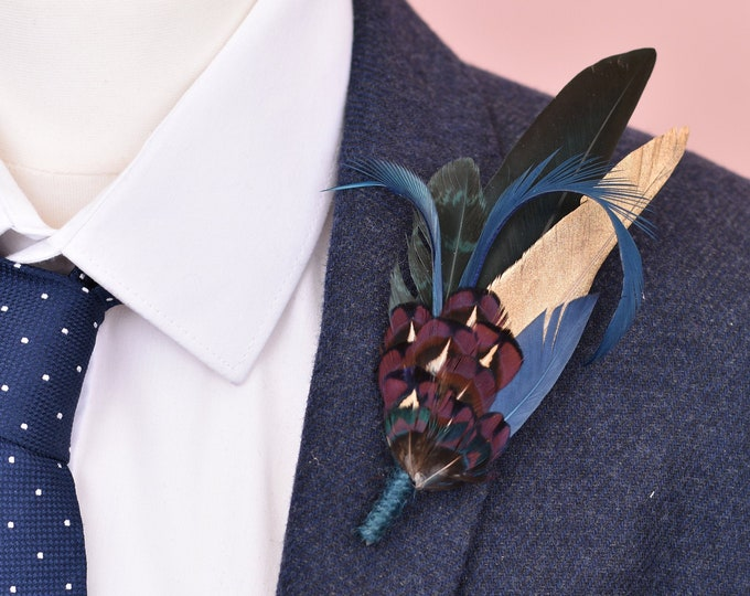 Blue, Green and Gold Feather Lapel Pin No.114