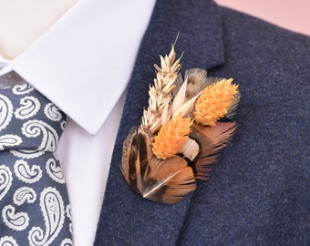 Harvest Gold Small Pheasant Feather Hair Clip / Lapel Pin with Dried Flowers