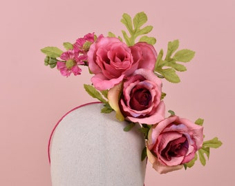 Sculptural Floating Pink Roses Headpiece
