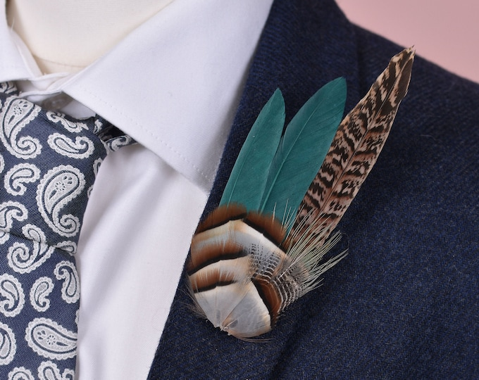 Teal, Partridge and Pheasant Feather Lapel / Hat Pin