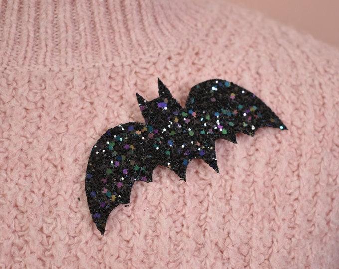 Black Glitter Bat Brooch