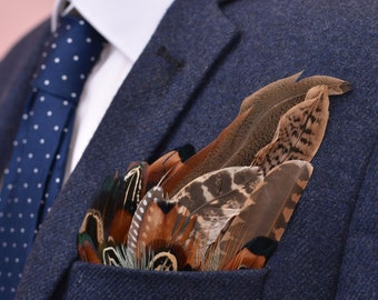 Pheasant Feather Pocket Square No.7