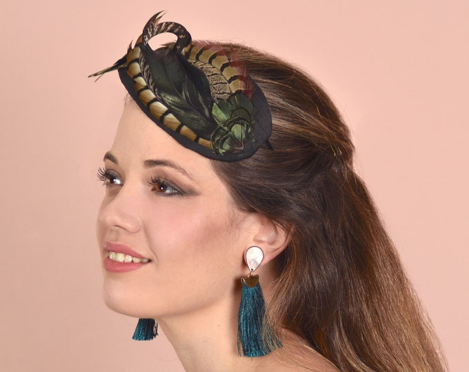 Side Perching Face Hugger Feather Fascinator in Black Silk and Black Pheasant Feathers