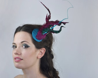 Bright Turquoise and Pink Feather Fascinator | Turquoise Fascinator | PinkFascinator | Wedding Fascinator | Wedding Headpiece | Races Hat